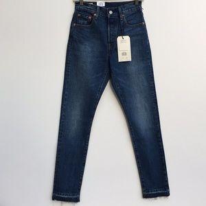 NWT Levi's 501 Raw Hem Skinny Jeans Blue 25